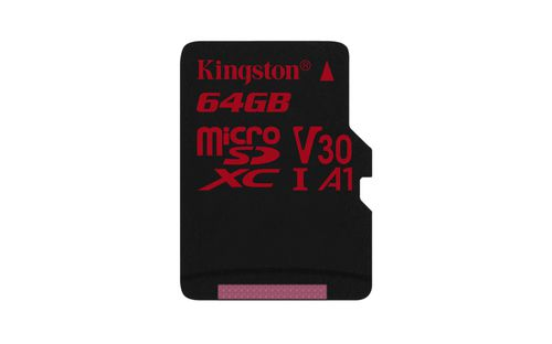 Ver KINGSTON 64GB MICROSDHC CANVAS REACT 10080 U3 UHS I V30 A1 SINGLE PACK WO ADP