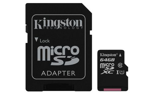 Ver KINGSTON 64GB MICROSDXC CANVAS SELECT 80R CL10 UHS I CARD