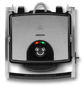 MEDION MD 16832 Barbacoa de contacto Mesa Electrico 1800W Negro Acero inoxidable