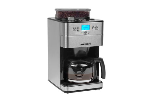 MEDION MD 16893 Independiente Totalmente automatica Cafetera de filtro 125L 10tazas Negro Plata