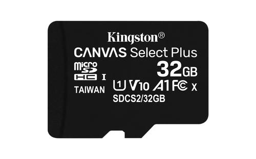 MEMORIA FLASH 32GB CANVAS SELECT PLUS MICROSD SIN ADAPTADOR KINGSTON