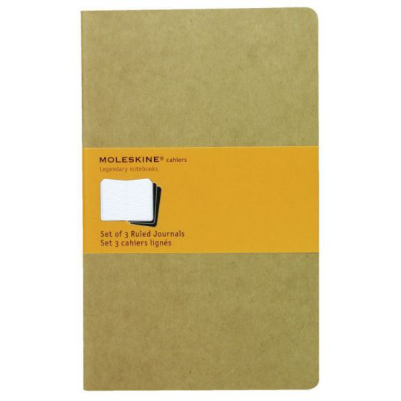 MOLESKINE CAHIER JOURNAL LARGE KRAFT BROWN RULED