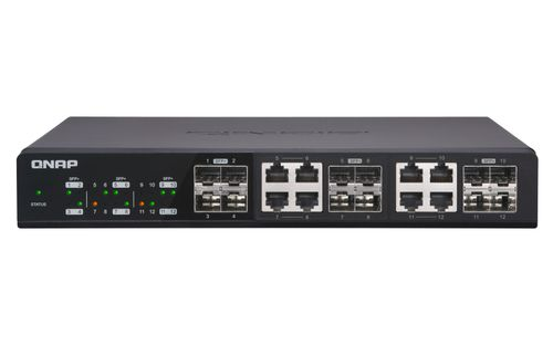 QNAP SWITCH 12 PUERTOS 10GBPS 4 SFP 8 SPF Y RJ45 COMBO QSW 1208 8C