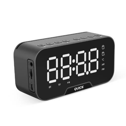 Radio Reloj Alarma Con Altavoz Bluetooth Negro Quickmedia