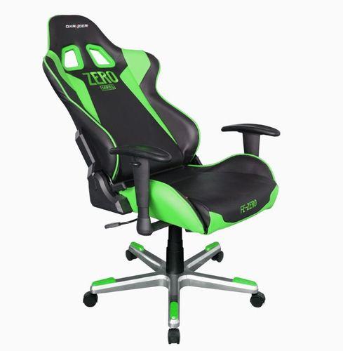 SILLA DXRACER F Series OHFE00NE Negra Verde Incluye 2 almohadillas