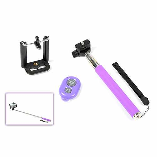 moviles ziron selfie stick bluetooth para tablet smartphones violeta. Black Bedroom Furniture Sets. Home Design Ideas