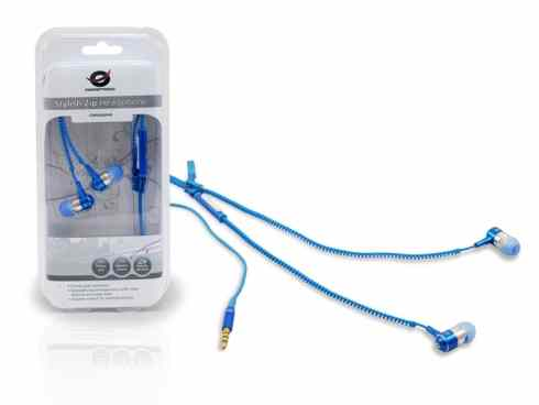 Auriculares Conceptronic Stylish Zip Azul