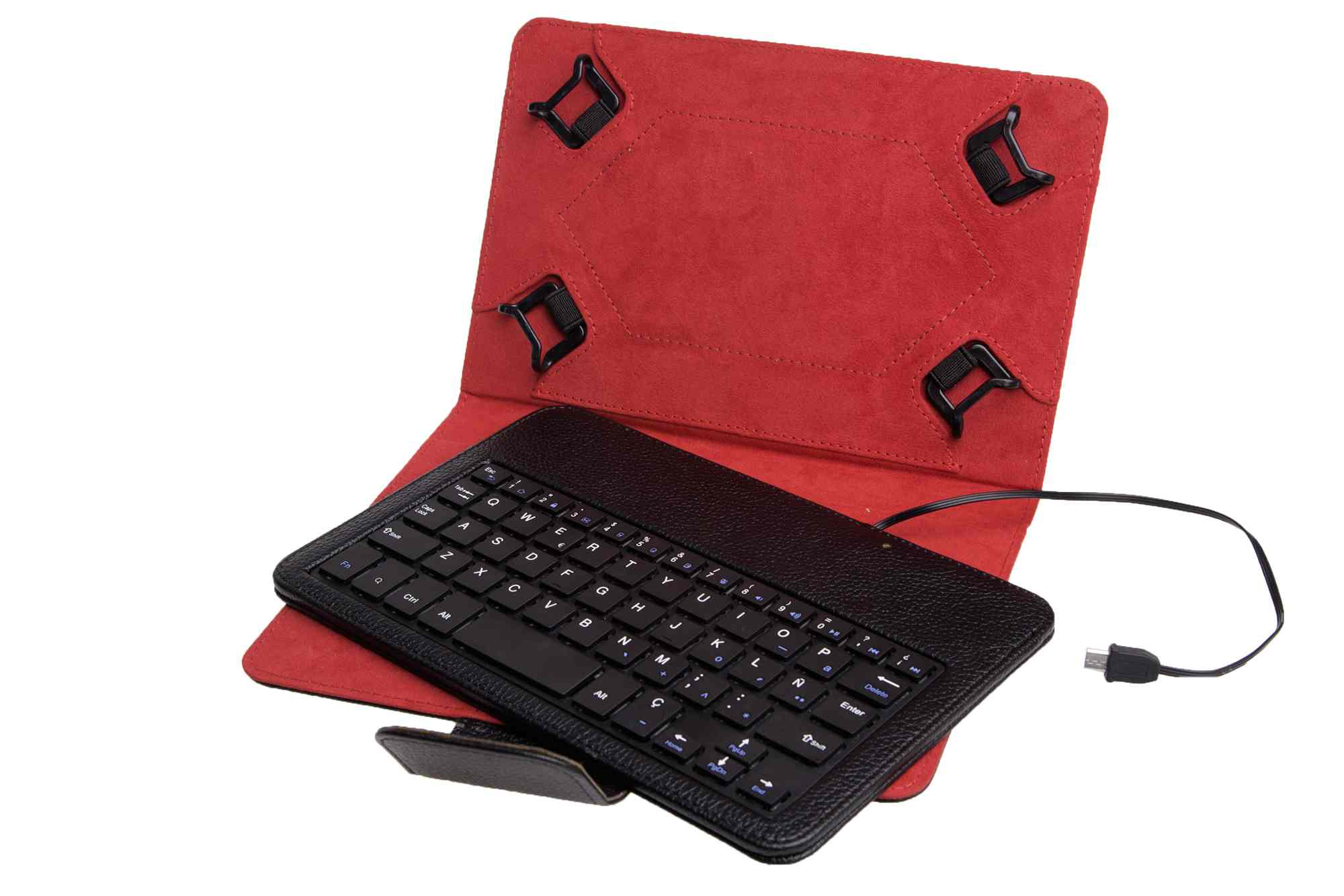 Funda Universal Teclado Con Cable Phoenix Para Tablet Ebook 7 8  Negra Mini Usb