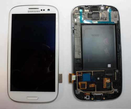 Repuesto Pantalla Lcd Touch Frame Marco  Samsung Galaxy S3 I9300 Blanco