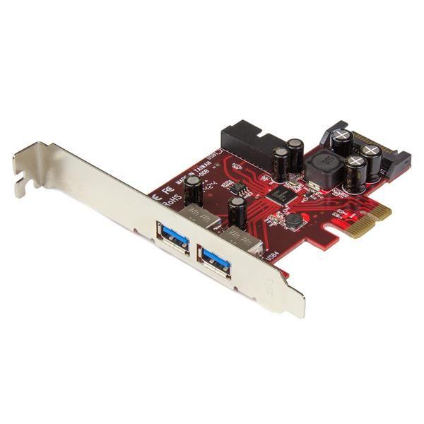 Ver StarTechcom Adaptador tarjeta PCI Express de 2 puertos externos 2 internos USB 30 con alimentacion SATA