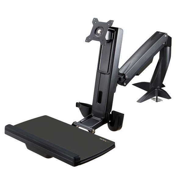 Ver StarTechcom Brazo de Soporte de Pie y Sentado Ajustable VESA para Monitores de hasta 24 Pulgadas con Soporte para Teclado y Raton