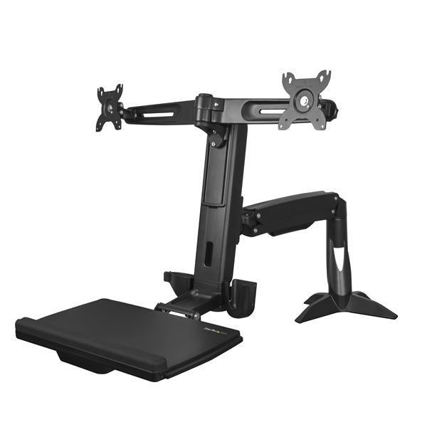 Ver StarTechcom Brazo para 2 Monitores de hasta 24 Pulgadas  Brazo de Soporte VESA para dos Pantallas de Pie y Sentado de Altura Ajustable