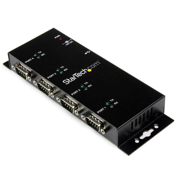 StarTechcom Concentrador Adaptador USB a Serie RS232 DB9 4 Puertos  Riel DIN Industrial y Montaje en Pared
