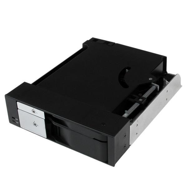 StarTechcom Rack Movil Backplane de 2 Discos Duros HDD SATA SAS de 3 5 o 2 5 sin Bandeja para 2 Bahias de 5 25
