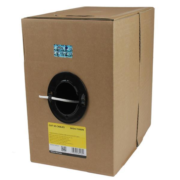 StarTechcom Rollo Bobina de 304 8m de Cable de Red Solido Bulk a Granel UTP Cat5e Blanco Certificado CMR Riser
