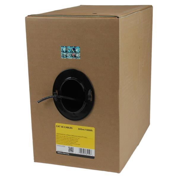 StarTechcom Rollo Bobina de 304 8m de Cable de Red Solido Bulk a Granel UTP Cat5e Negro Certificado CMR Riser