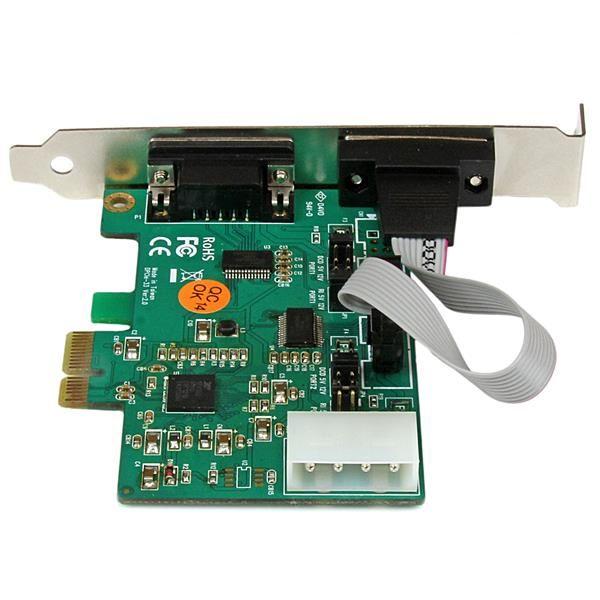 Startechcom Tarjeta Adaptador Pci Express Pcie De 2 Puertos Serie Rs232 Con Salida De Alimentacion Y Proteccion Esd