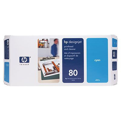 Ver HP CONSUMIBLE Cabezal de impresion y Limpiador de cabezales HP 80 cian