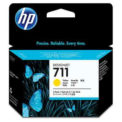 Ver HP CONSUMIBLE 711 3-pack 29-ml Yellow Ink Cartridges