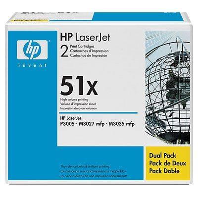 HP CONSUMIBLE Cartuchos de impresion negros de paquete doble HP LaserJet Q7551X