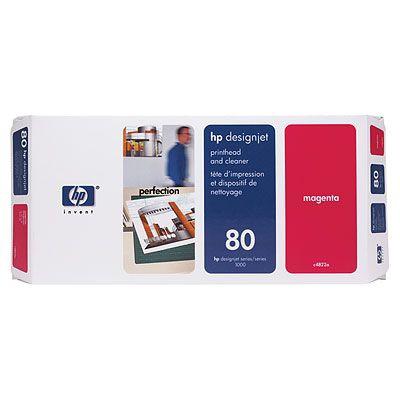 Ver Cabezal de impresion y Limpiador de cabezales HP 80 magenta