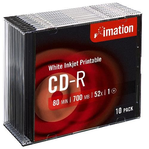 Imation Cd-r  52x  Inkjet Printable  Slimline  10 Pack