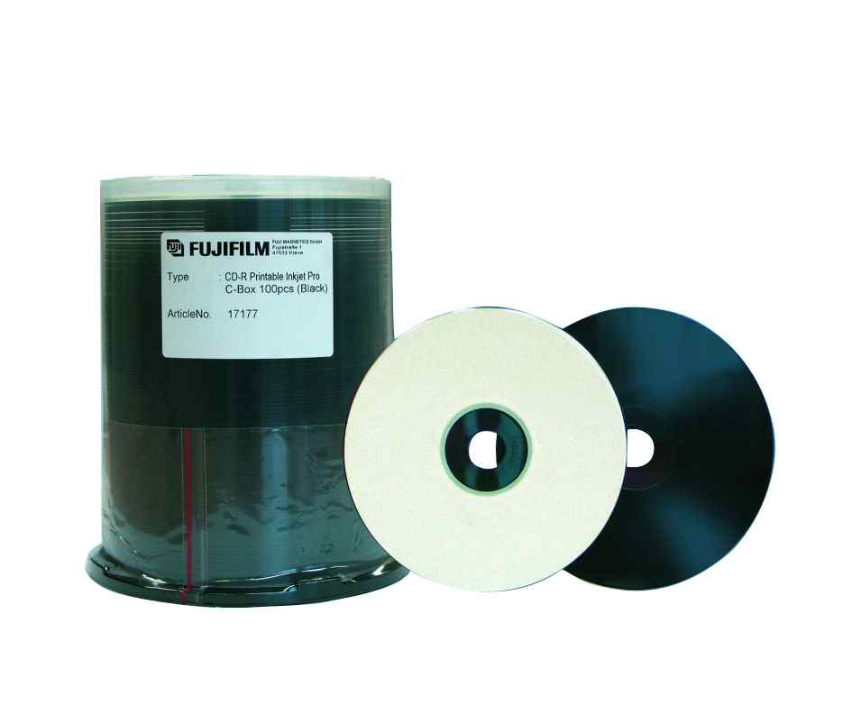 Fujifilm CD-R Printable Inkjet Pro Black 100-Spindle
