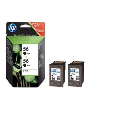 Paquete De 2 Cartuchos Hp 56 De Tinta Negra Para Impresion Por Inyeccion De Tinta