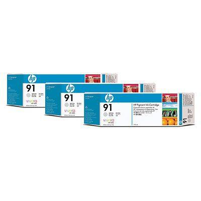 Paquete de 3 cartuchos de tinta gris claro HP 91 de 775 ml