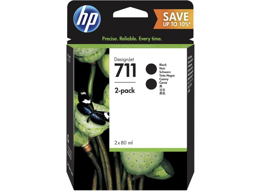 Ver HP 711 2 pack 80 ml Black DesignJet Ink Cartridges 80ml Negro