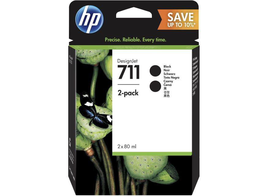 HP 711 2 pack 80 ml Black DesignJet Ink Cartridges 80ml Negro