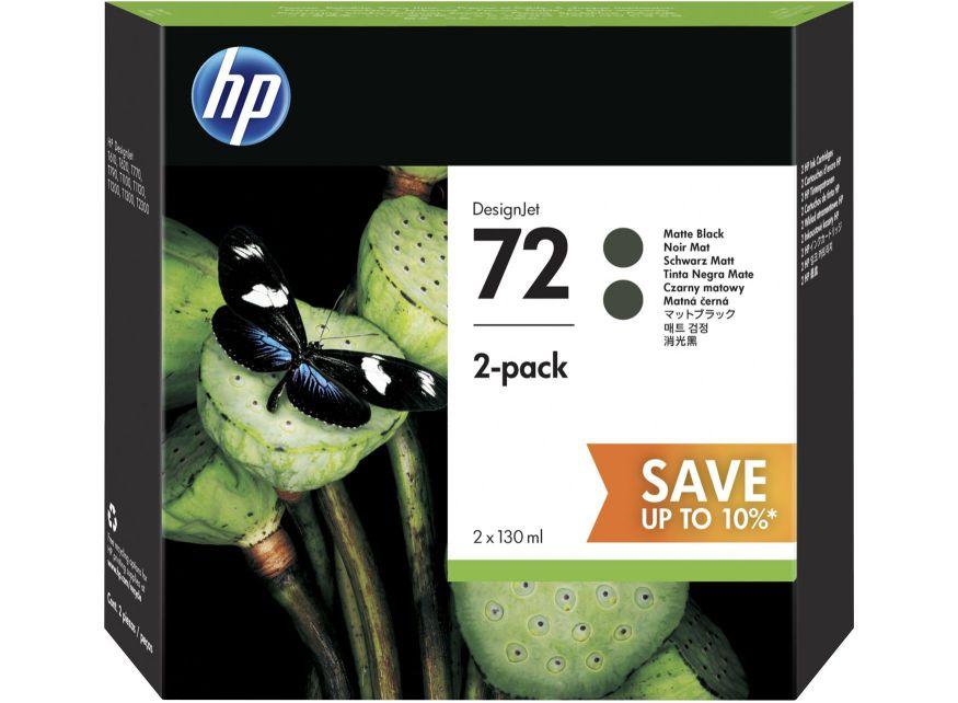 HP 72 2 pack 130 ml Matte Black DesignJet Ink Cartridges 130ml Negro mate