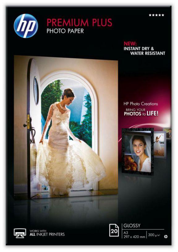 HP Papel fotografico brillante Premium Plus  20 hojas
