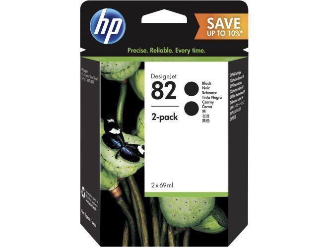 HP Paquete de 2 cartuchos de tinta DesignJet 82 negro de 69 ml